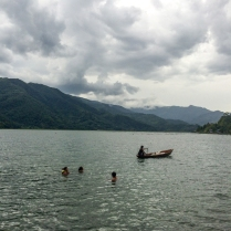 Dipping in Phewa Lake